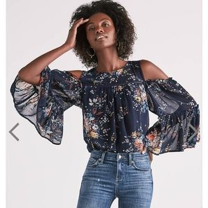 Lucky Brand   NWT Floral Chiffon Cold Shoulder top